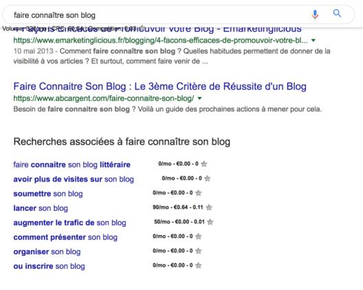 recherches associés Google
