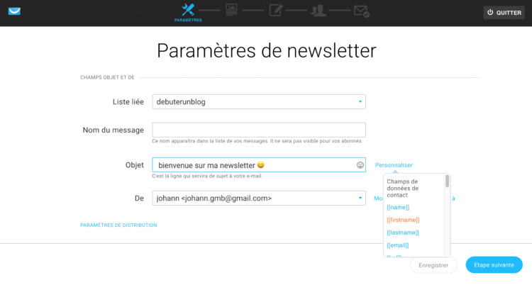 Créer une newsletter getresponse