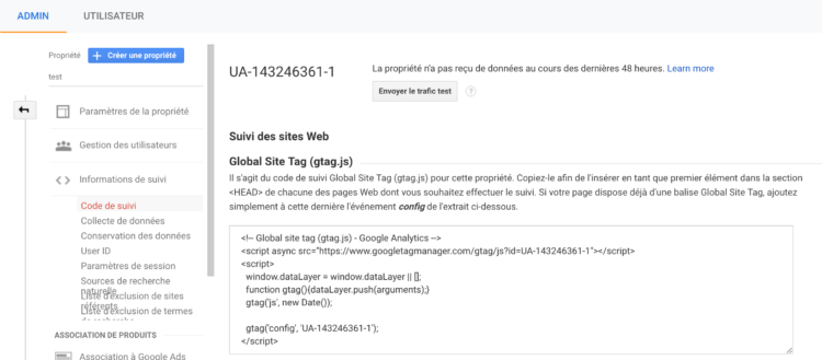 code de suivi google analytics