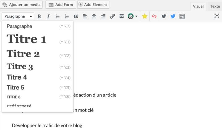 ajouter balise hn wordpress