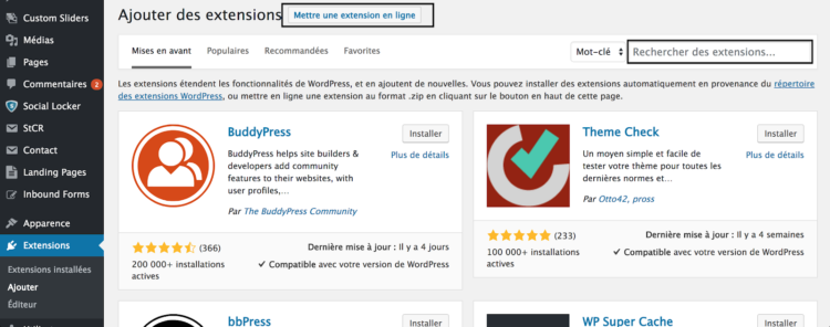 ajouter plugin wordpress