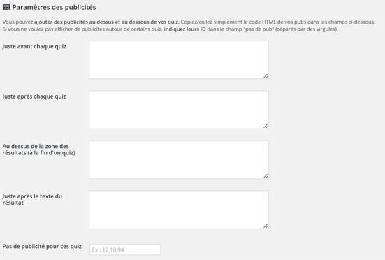 parametrage wp-viral-quiz